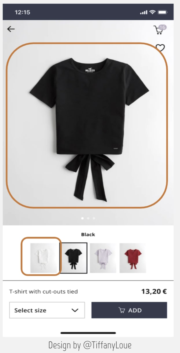 Screenshot of a sample shopping application. Showing a black tee shirt but also buttons to pick another color. Then its price and a button Add to cart