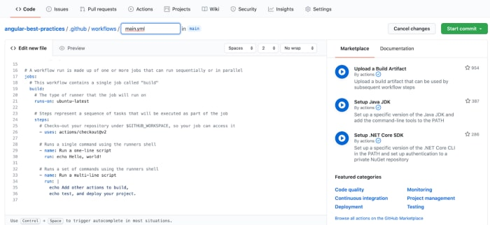 Como crear un archivo yaml desde github