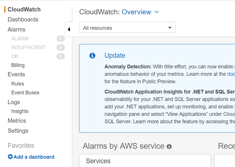 AWS Cloudwatch Console
