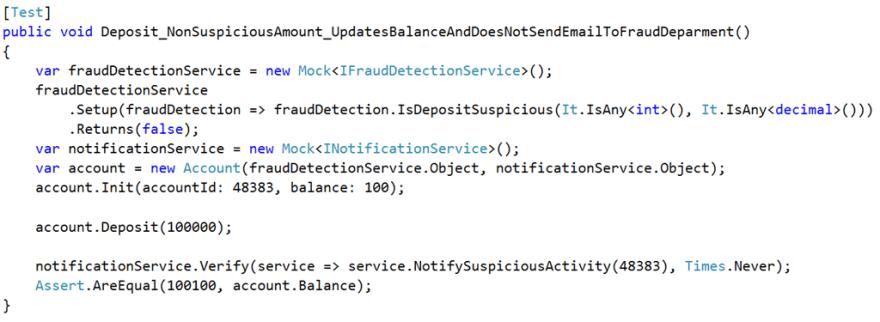 non suspicious deposit test
