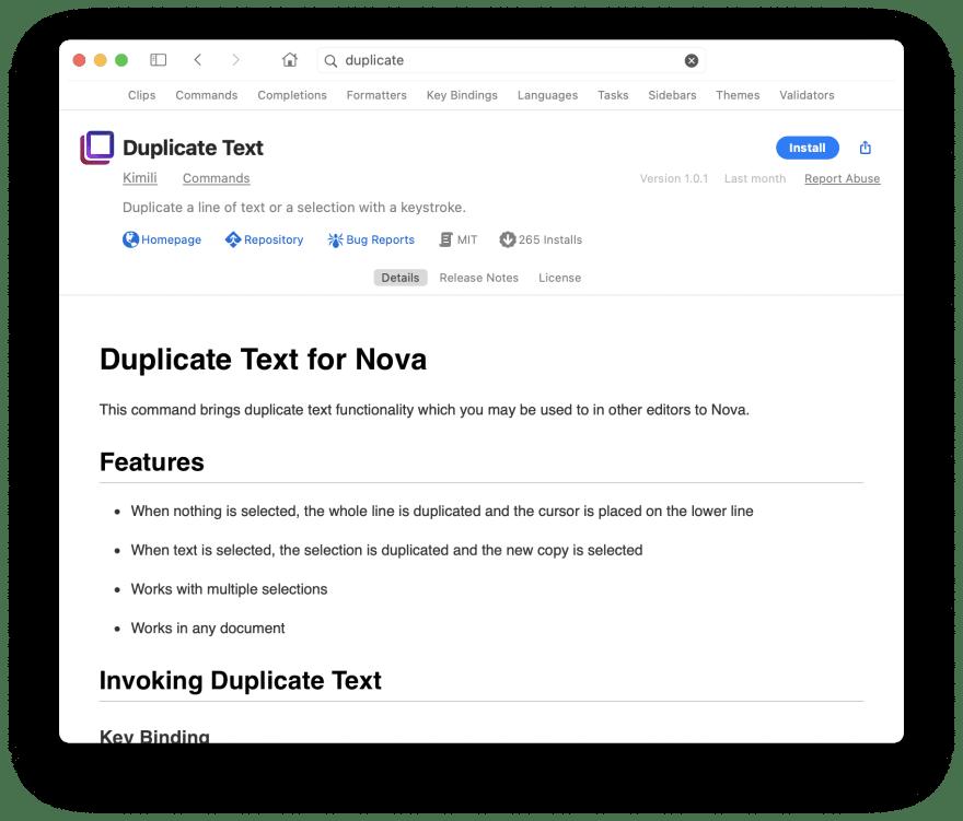 Nova Duplicate Line functionality