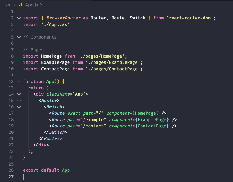 An example of how appjs should be looking so far