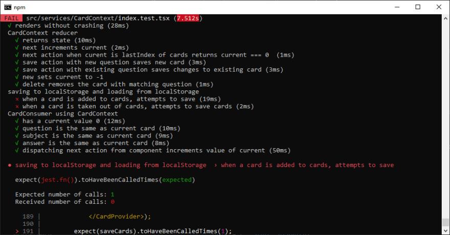 CardContext Fails Tests