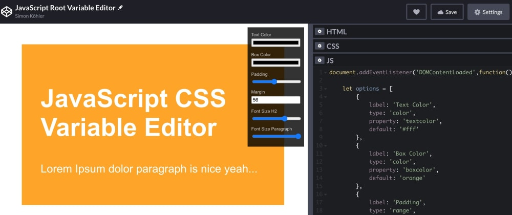 Cover image for JavaScript Editor from Scratch to live-edit CSS Values in your Browser