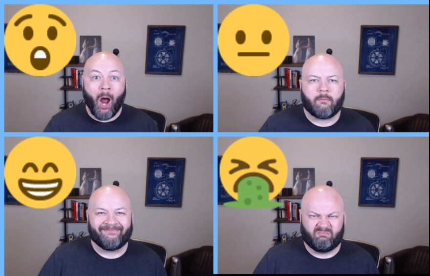 Four video frames of Michael showing different sentiments returned from Azure's Face API