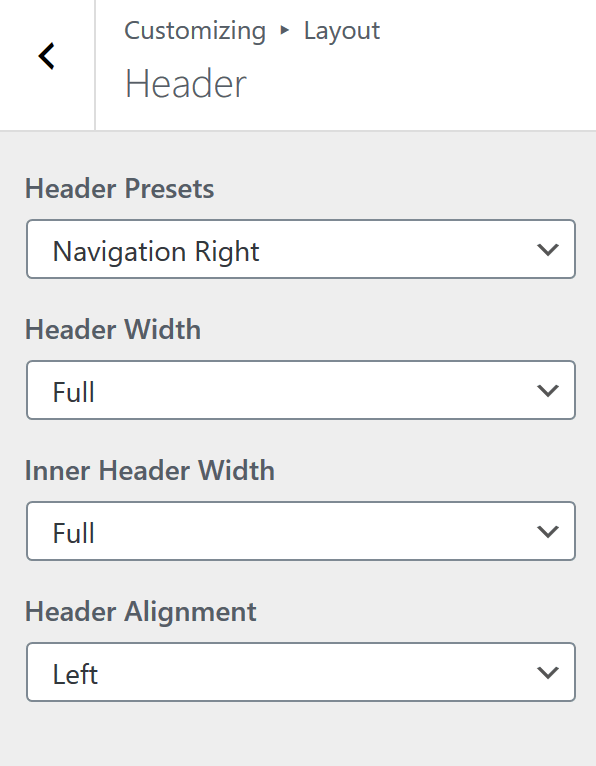 Generate Press Header Layout Settings