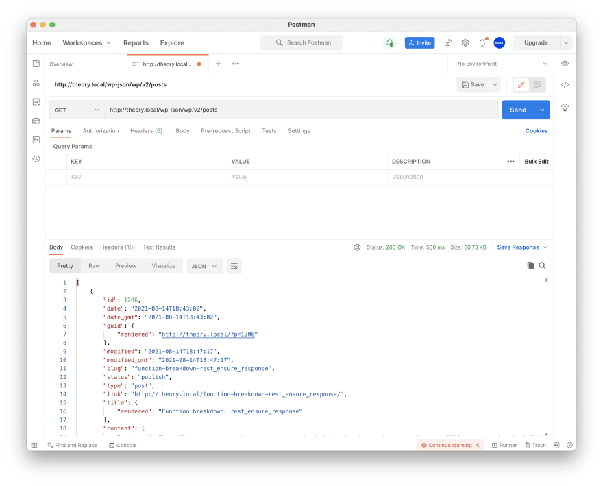 Screen shot of Postman with a GET request and the resulting JSON value