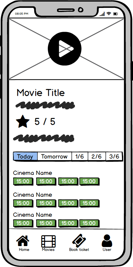 movie show screen wireframe kino app