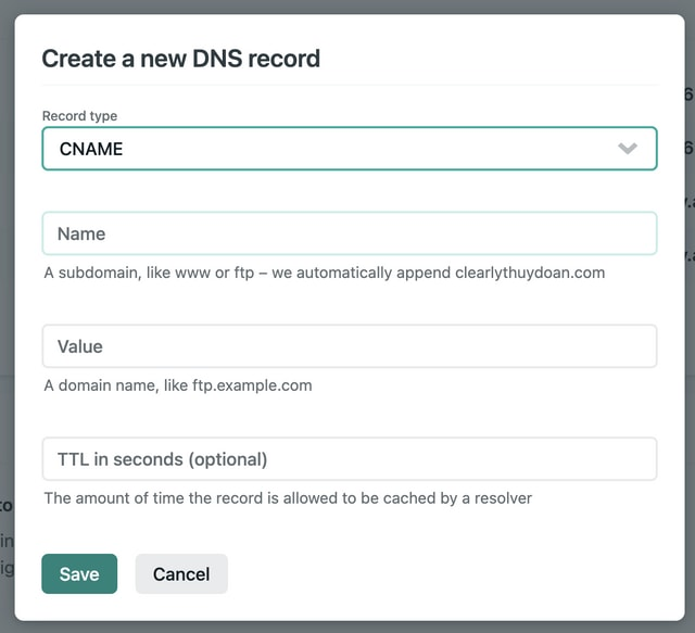 Screenshot of the modal for creating a new DNS record on Netlify