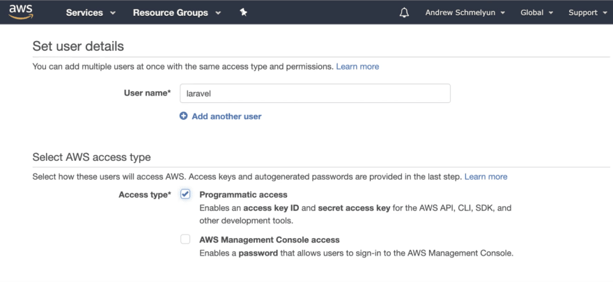 Screenshot of AWS IAM user details page