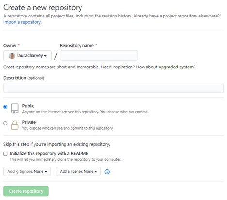 2nd screenshot of how to create a new repository in github