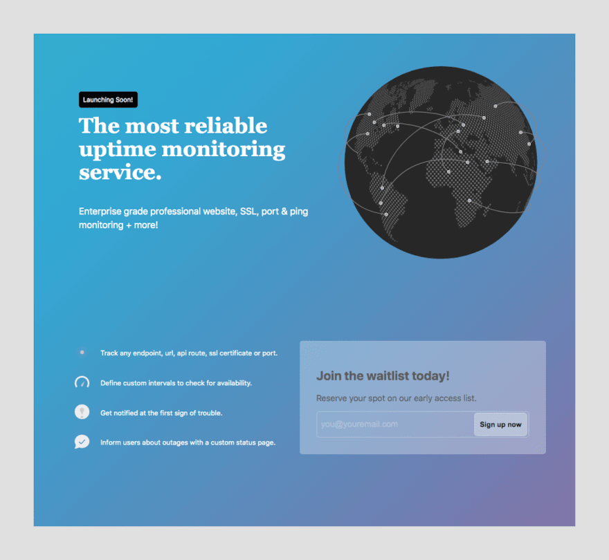 Completed Splash Page Example