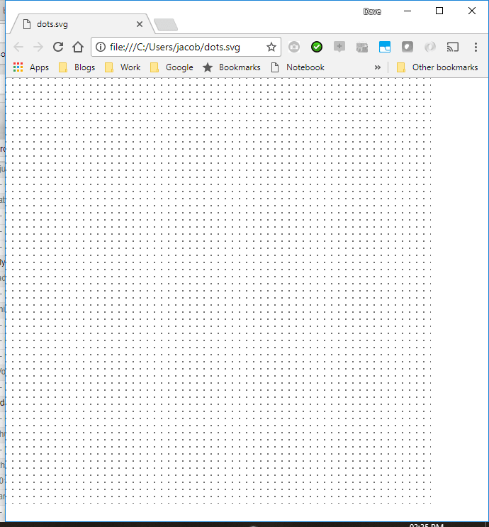 The SVG showing dots
