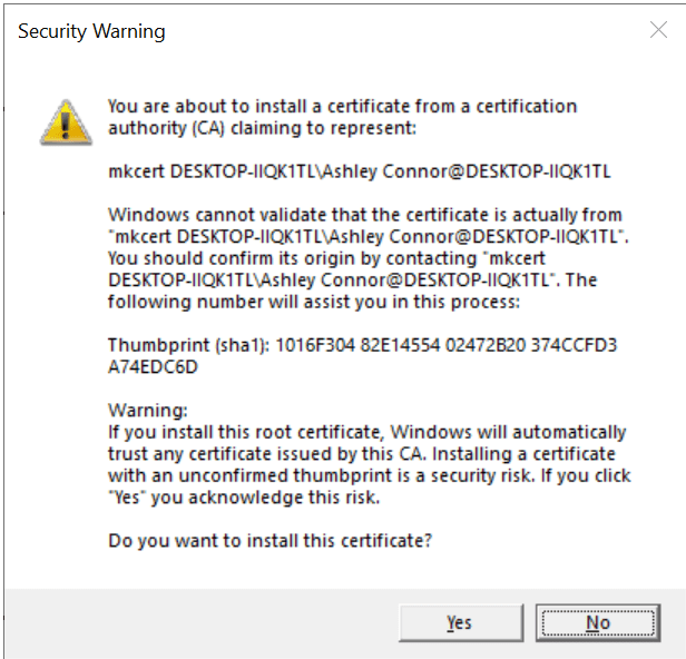 You are about to install a certificate from a root authority (CA) claiming to represent...