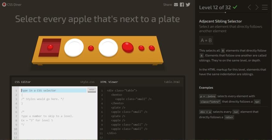 Screenshot of CSS Diner