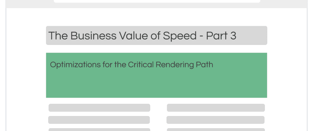 Cover image for The Business Value of Speed - A How-To Guide - Part 3: Optimizations for the   Critical Rendering Path
