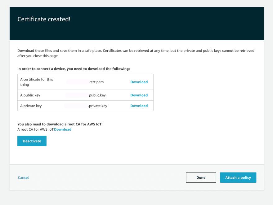AWS IoT Core Certificate Create Done.