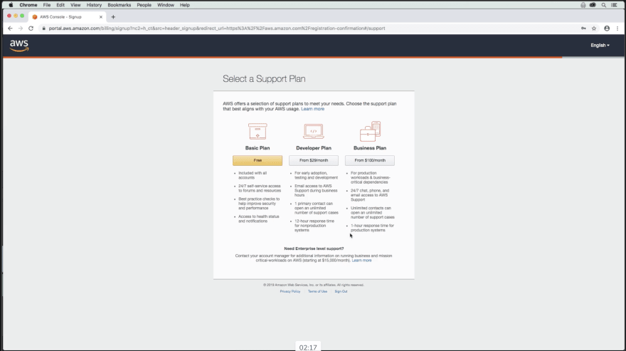 Choose the free Basic Plan on the AWS support plan page