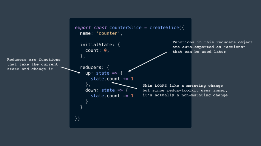 """Reducers are functions that take the current state and change it. This LOOKS like a mutating change but since redux-toolkit uses immer, it's actually a non-mutating change. Functions in this reducers object are auto-exported as """"actions"""" that can be used later"""