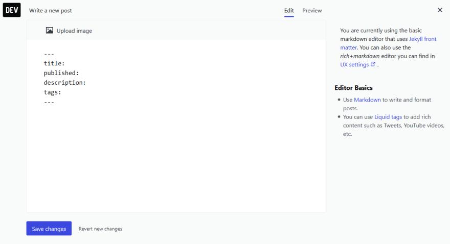 Dev.to basic markdown version