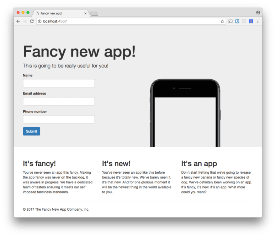 The Fancy New App landing page. It shows a form and some details about the (fictional) app.