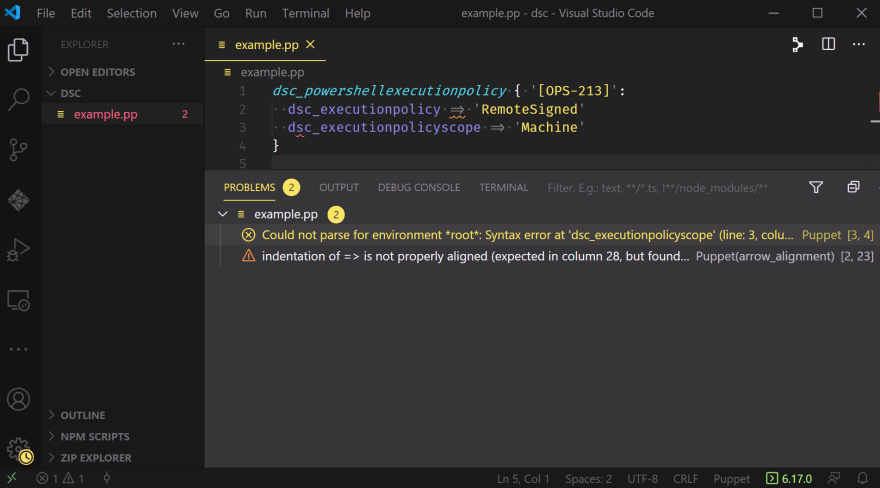A VSCode window displaying the Problems Pane with two entries