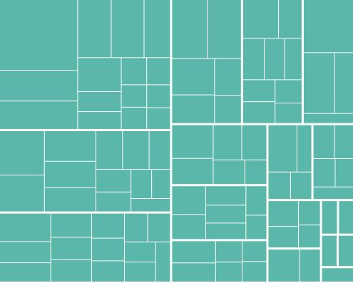 A treemap with single color