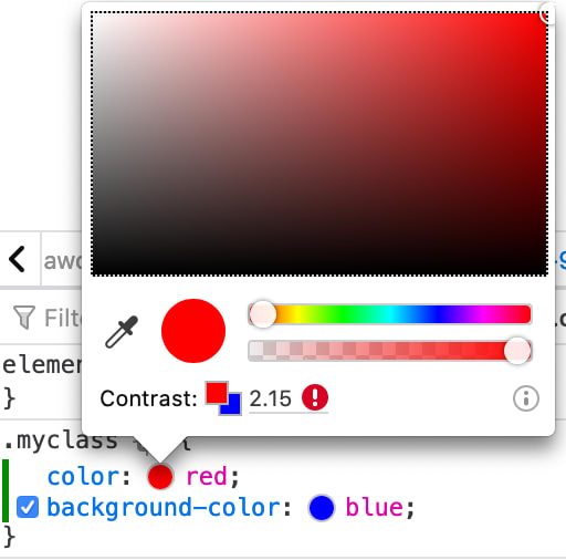 Screenshot of Firefox integrated color contrast tools