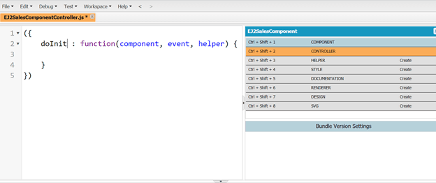 Add the controller page EJ2SalesComponentController.js by using the right sidebar