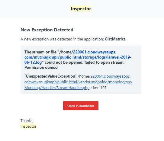 Inspector nodejs error notification