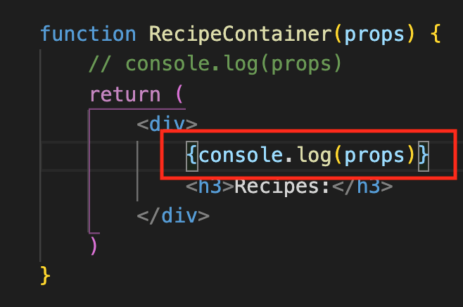 console.log with curly braces