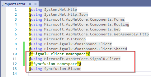Add the application's required namespaces into the imports.razor file.