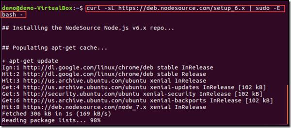 using curl using to download nodejs on Ubuntu