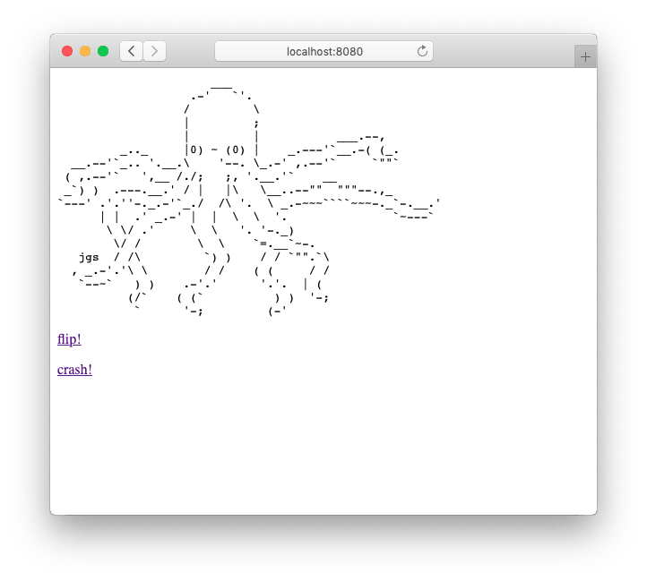 A screenshot of our Elixir HTTP server running Plug.Octopus.
