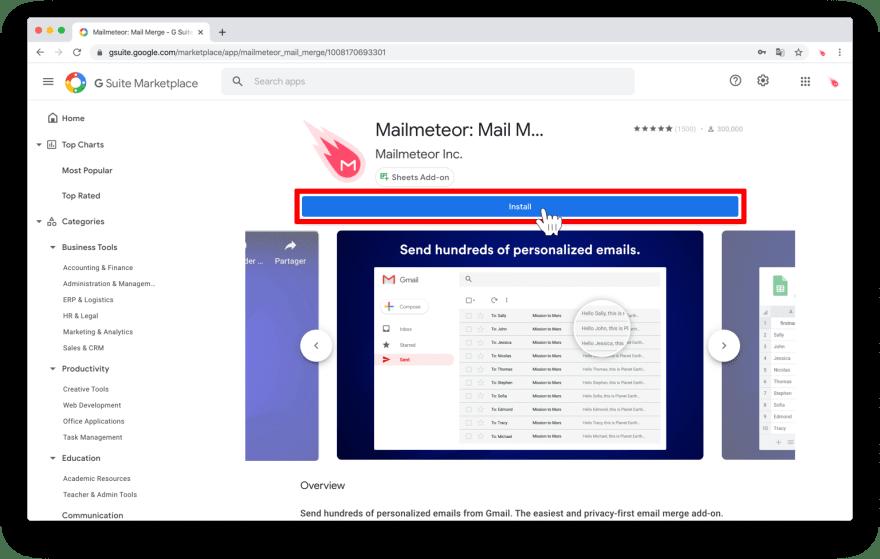 Install Mailmeteor for Google Sheets
