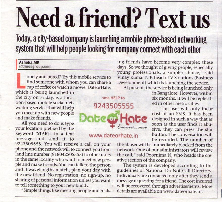 Date or Hate article in Bangalore Mirror