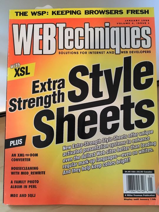 Cover of the January 1999 issue of Web Techniques magazine
