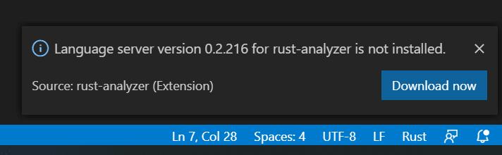 rust analyzer server install