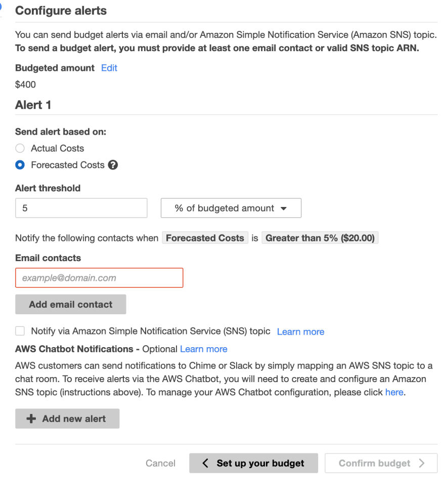 Configure alerts for your budget