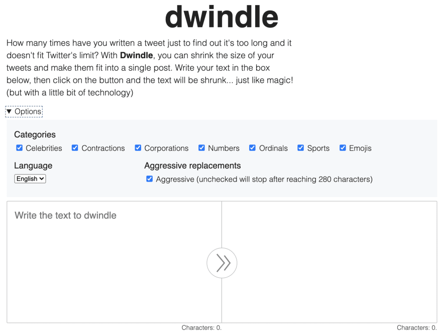 Screenshot of Dwindle with the options open