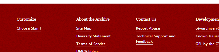A screenshot of the AO3 footer that shows the textured red background