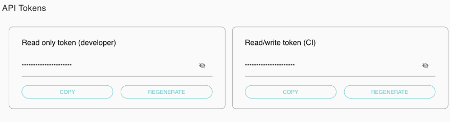 proceed to /settings/api-tokens and copy Read/write token (CI)