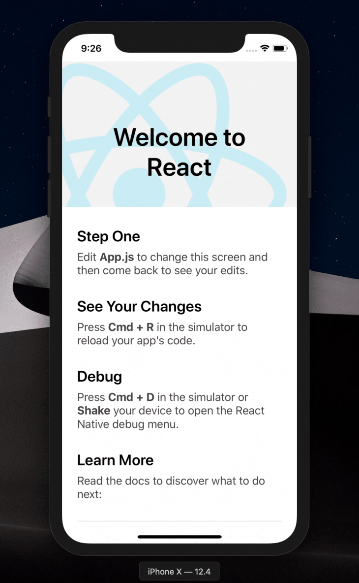 react native welcome page