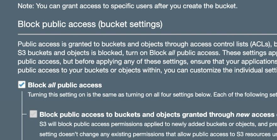 Block all public access