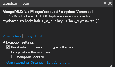 MongoDB duplicate key exception
