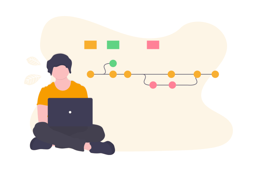 illustration of person working with Git