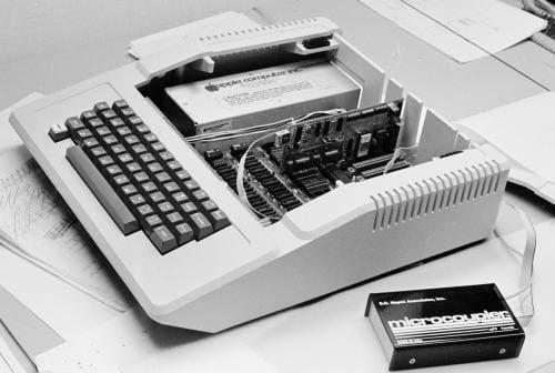 Apple II computer with external modem