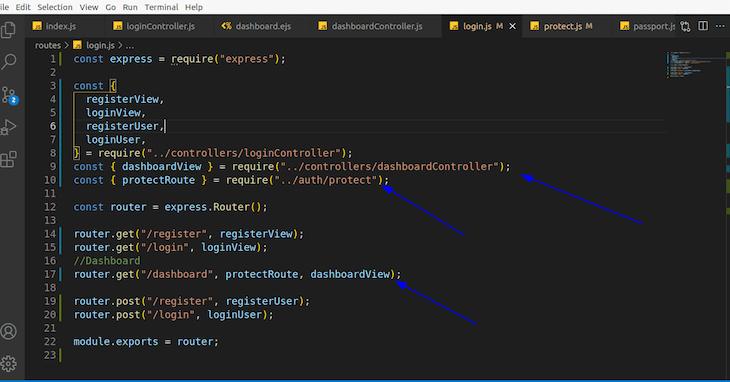 Login.js File Under Routes File