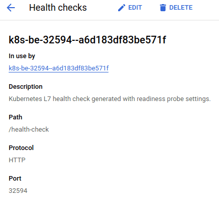 """Health check attributes of a given backend service. The path attribute has the value of """"/health-check""""."""