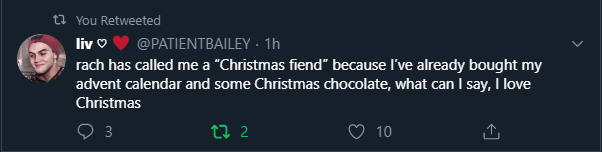 A nice tweet about christmas